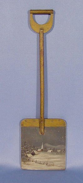 8: Early Miniature Shovel w/Painted Winter Scene