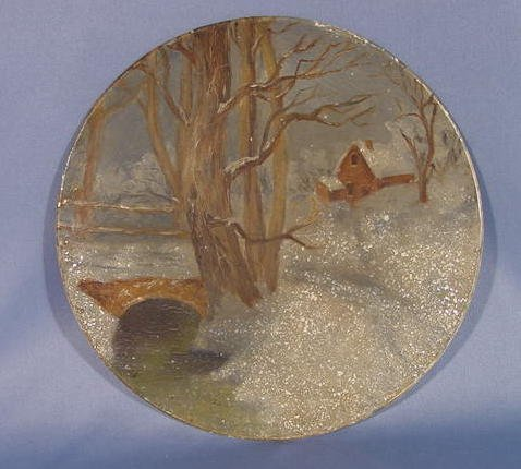 10: Early Wood Plate w/Painted Winter Scene