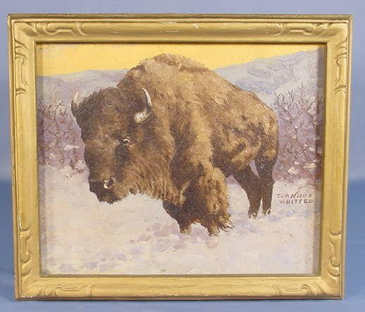 18: Signed Painting on Artist Board of Buffalo