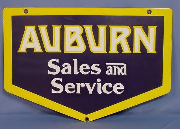 "19: Porcelain Sign ""Auburn Sales and Service"""