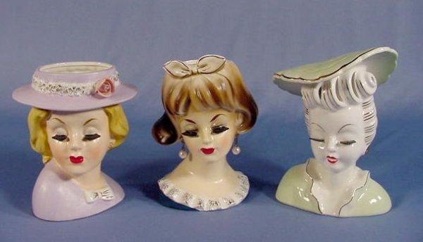 1: 3 Ardco & Artmark Lady Head Vases