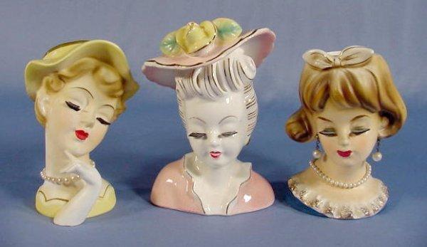 2: 3 Artmark & Atlas Lady Head Vases