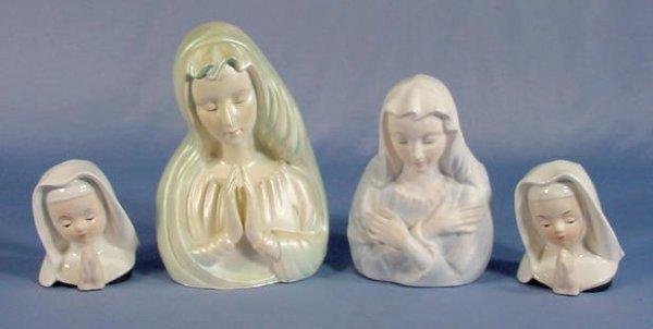 5: 2 Nun & 2 Madonna Lady Head Vases