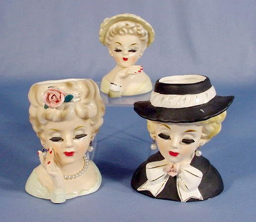 9: 3 Inarco Lady Head Vases