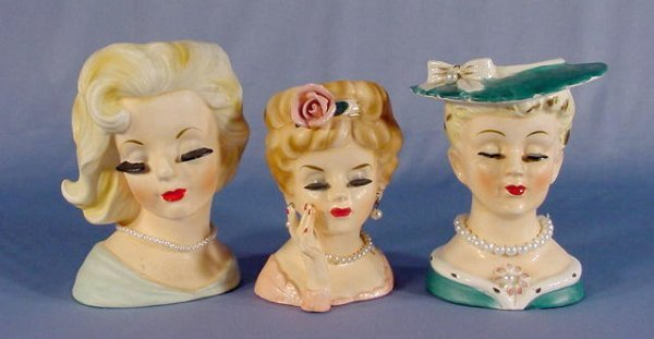 14: 3 Inarco Lady Head Vases
