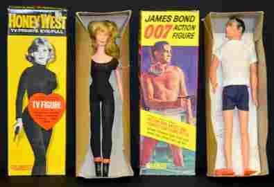 2 Gilbert TV Action Fig-Honey West, James Bond