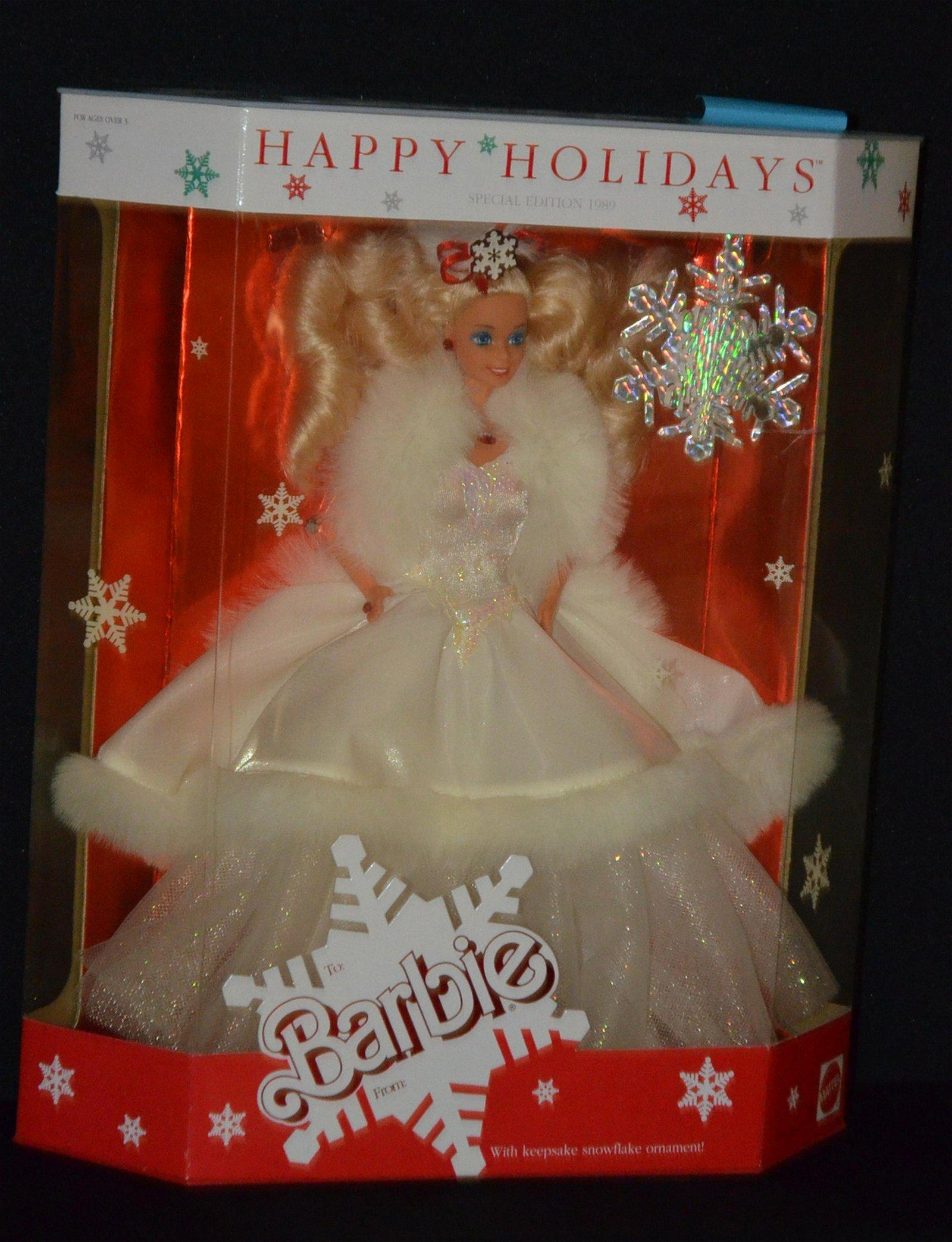 1989 Happy Holidays Barbie In Original Box