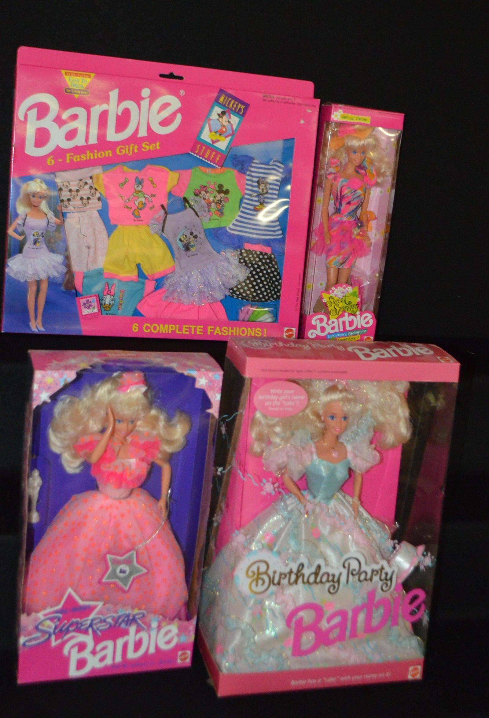 4 Mattel Barbie Dolls, NRFB