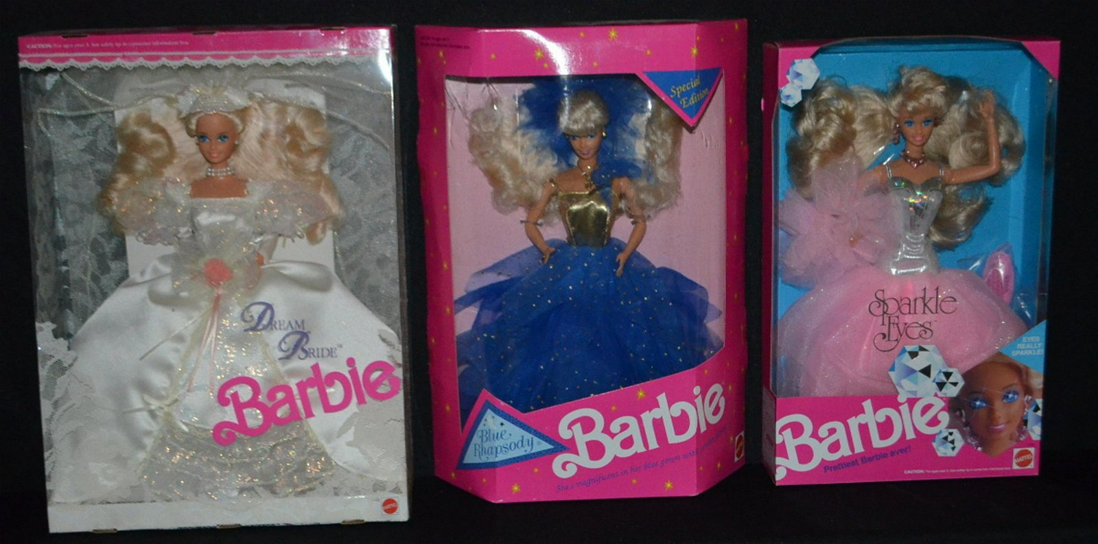 3 Mattel 1991Barbie Dolls, NRFB