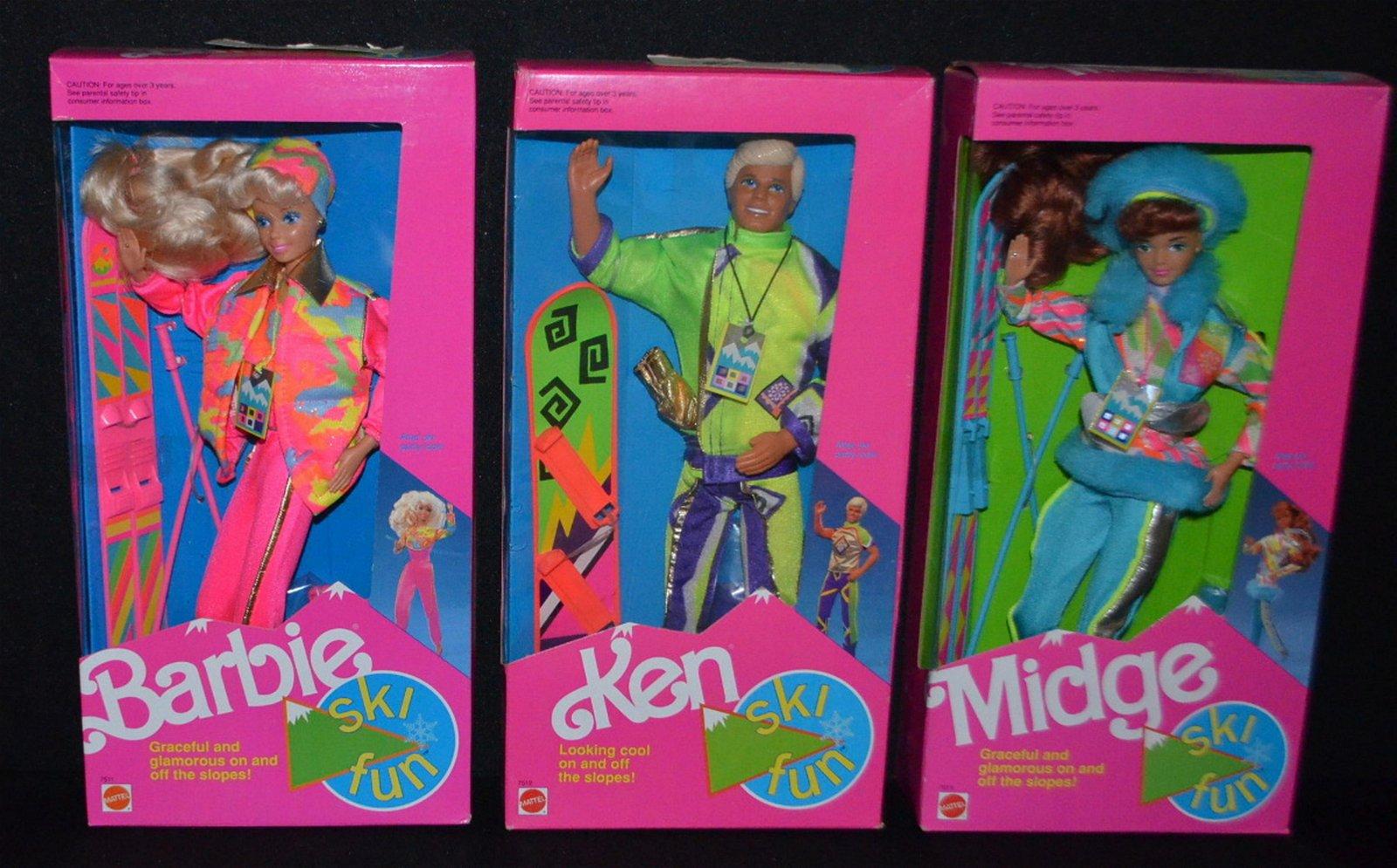 3 Mattel 1991 Ski Fun Dolls, NRFB