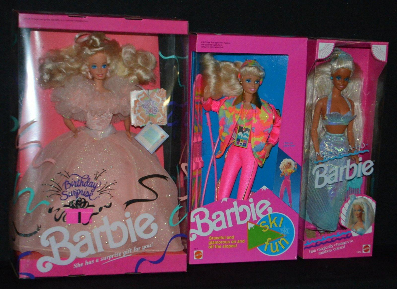 3 Mattel 1991  Barbie Dolls, NRFB