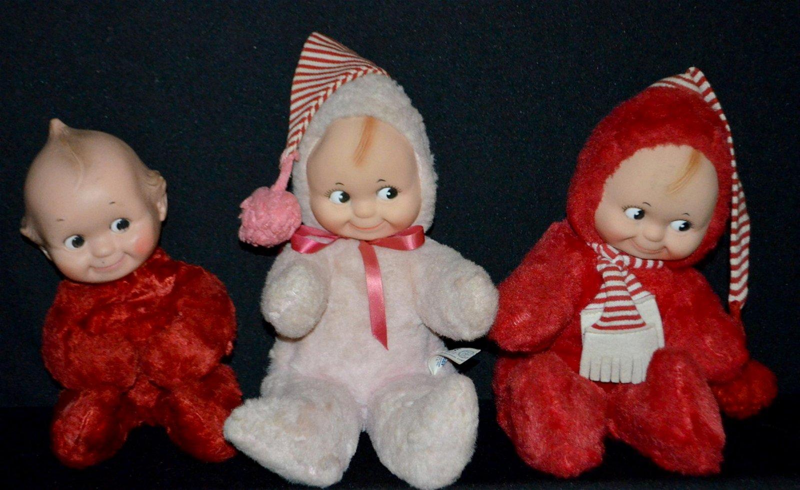 3 Knickerbocker Plush Kewpie Dolls