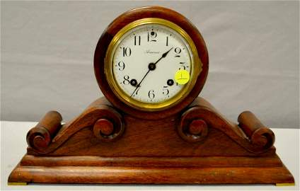 Ansonia Tambour Shelf Clock, Mahogany, T & S