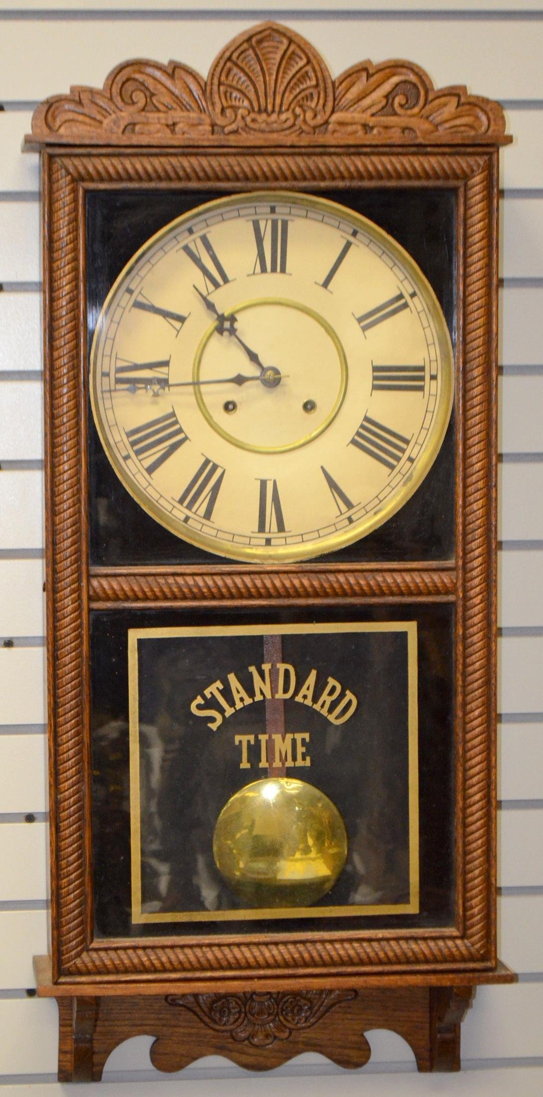 Antique Oak Store Regulator Wall Clock