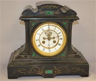 French Slate Open Escape Mantel Clock:  2 pc porcelain