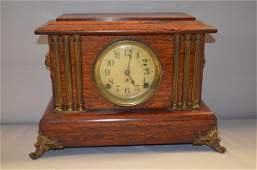 Seth Thomas Red Adamantine Mantel Clock: lion handles,