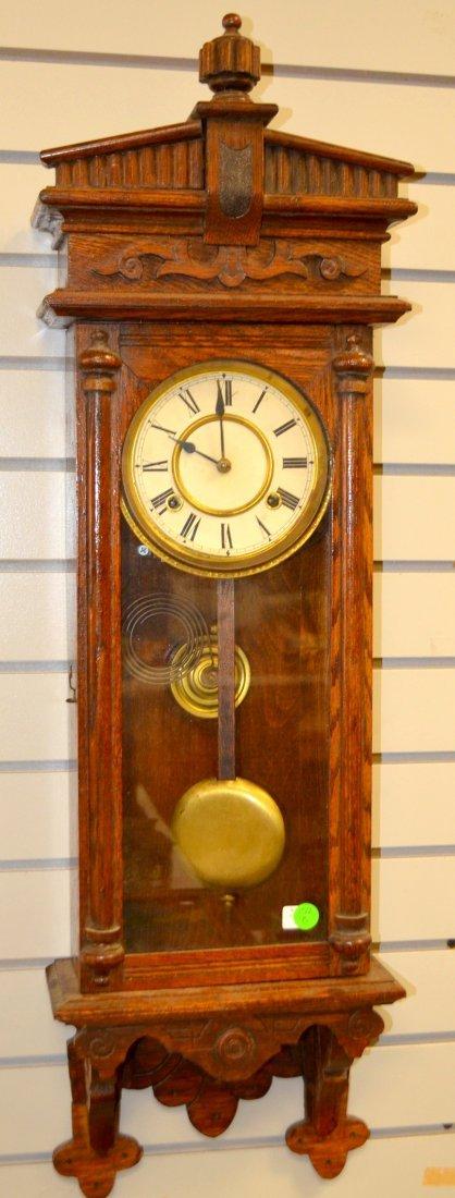 Antique Waterbury Oak Wall Regulator