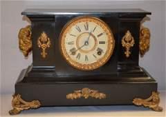Antique Ansonia Mantle Clock w/ Buffalo Heads