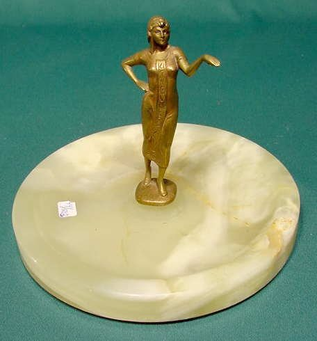 518: Bronze Figural Egyptian Female Figure with Tray NR