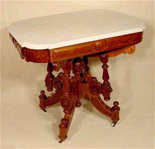 625: White Shaped Corner Marble Top Table Lion's Heads