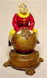 677: Acrobatic Clown Cast Iron Mechanical Bank NR