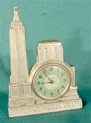 Dresser Metal Empire State Building Figural Clock