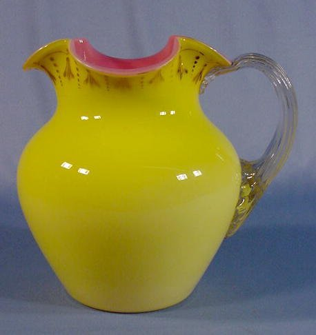 505: Yellow Cased Glass Water Pitcher w/Pink Interior