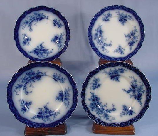 """510: 4 Flow Blue """"Touraine"""" Plates"""
