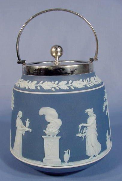 512: Wedgwood Blue & White Jasperware Biscuit Jar