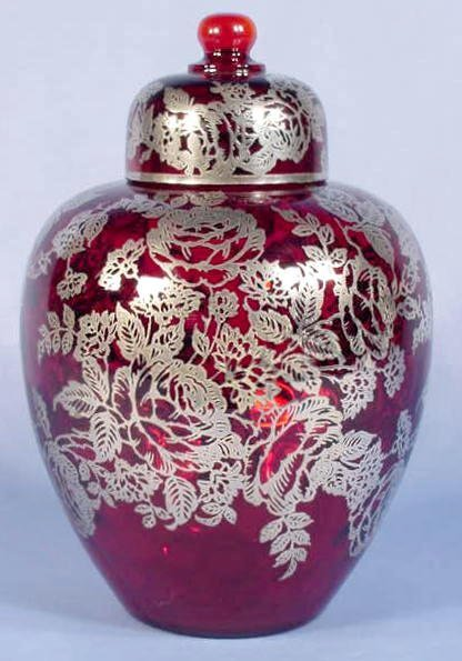 513: Ruby Red Glass, Silver Overlay Ginger Jar & Cover