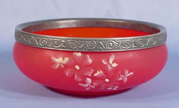 515: Victorian Red Satinized Glass Master Berry Bowl