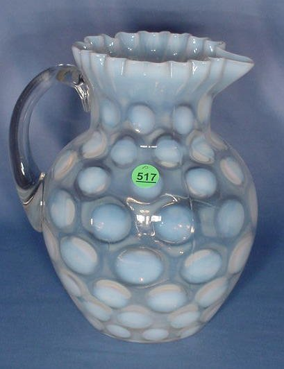 517: White Opalescent Coin Spot Water Pitcher
