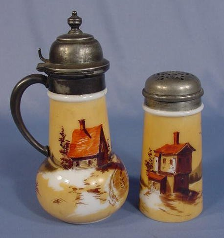 522: Milk Glass Syrup Pitcher & Muffineer