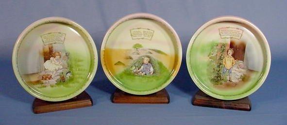 524: 3 Royal Bayreuth Nursery Rhyme Feeding Dishes