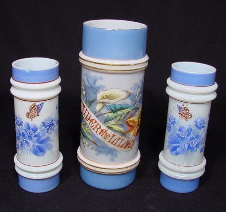 5A: 3 Decorated Milk Glass Vases with Raised Rings