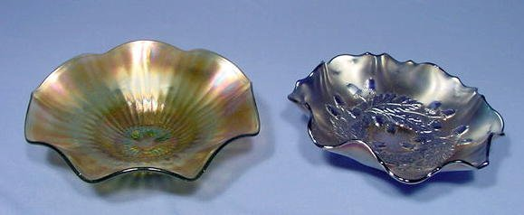 8: 2 Shallow Carnival Glass Bowls