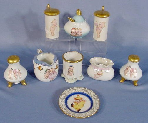 17: Group of 9 Kewpie Decorated China Collectibles