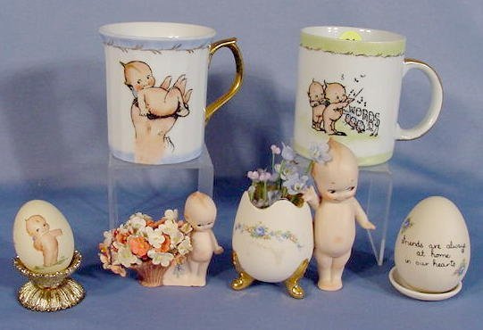 21: Group of 6 Kewpie Decorated Collectibles
