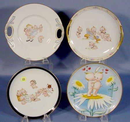 23: Group of 4 Kewpie Decorated Plates