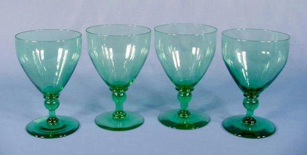 73A: 4 Steuben No.6476 Green Glass Goblets