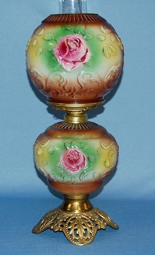 1005: Small Decorated Milk Glass Parlor Lamp