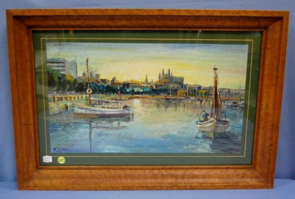 1015: Signed Colomer Boat Yard Painting on Canvas