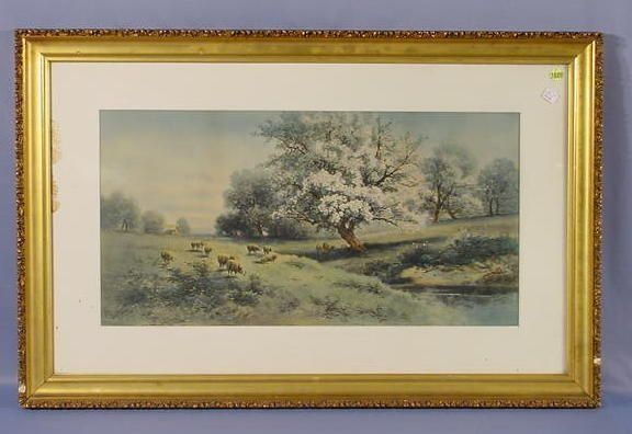 1020: Carl Weber Framed Print of Sheep In A Pasture