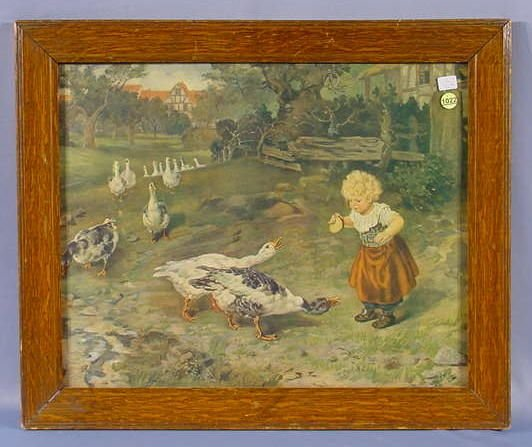 1022: Framed Print of A Young Girl in A Farmyard