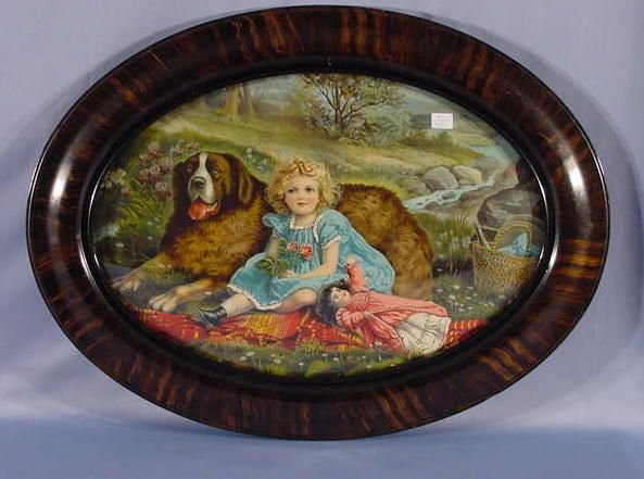 1010: Oval Framed Print of a Young Girl with Her Doll &