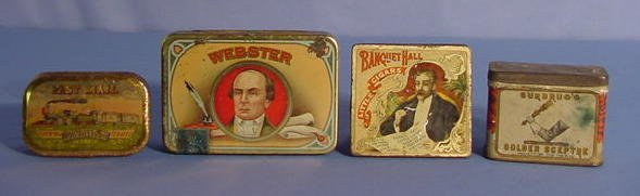 1524: 4 Tin Litho Tobacco Tins: Webster, Hall & Others