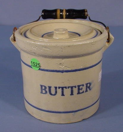 1525: Stoneware Butter Crock with Lid & Bail Handle