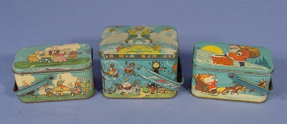 1570: 3 Childrens Tin Litho Candy Boxes