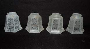 """Set of 4- 6 panel etched lamp shades: 2 1/4"""" lip, 4"""