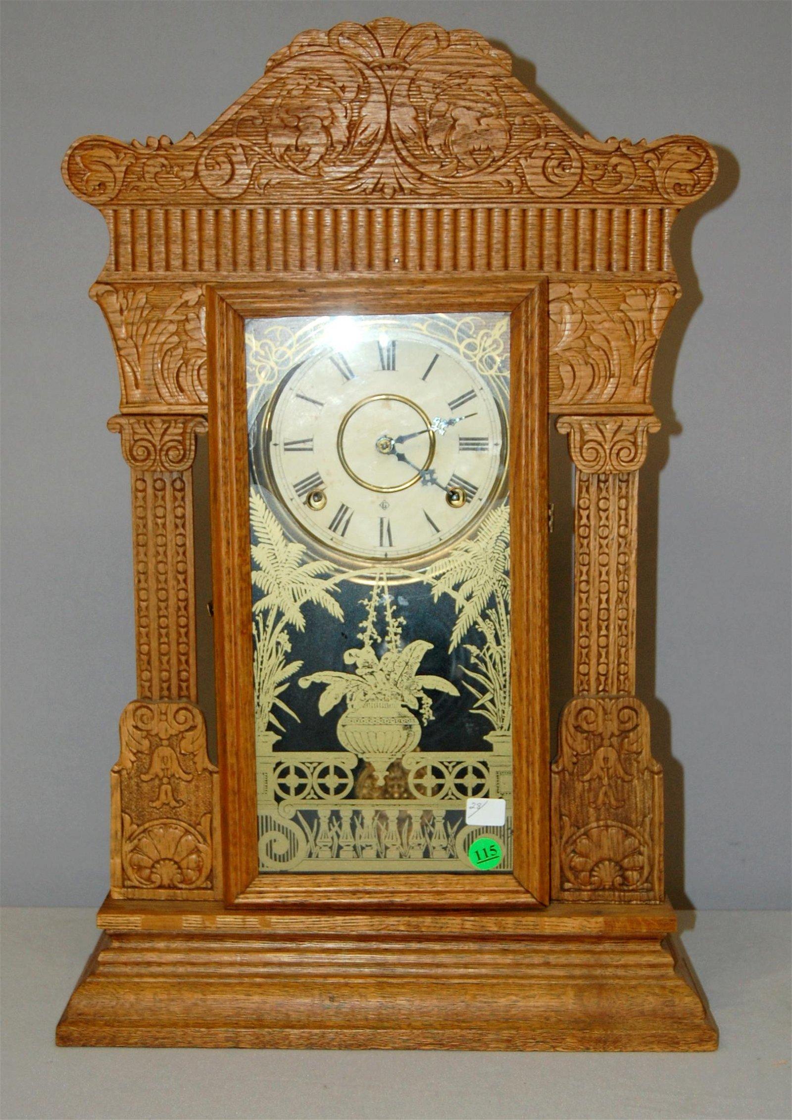 Gilbert Oak Antique Kitchen Clock: Signed paper dial,